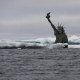 A semi submerged Statue of Liberty in the Arctic Ocean draws attention to the effects of climate change on rising sea levels, as world leaders are about to gather in New York for the Climate Summit hosted by UN Secretary-General Ban Ki-moon. The melting of Arctic glaciers and ice sheets contributes directly to global sea level rise. The photo was taken in the Arctic Ocean northwest of Svalbard the 7th of September 2014.