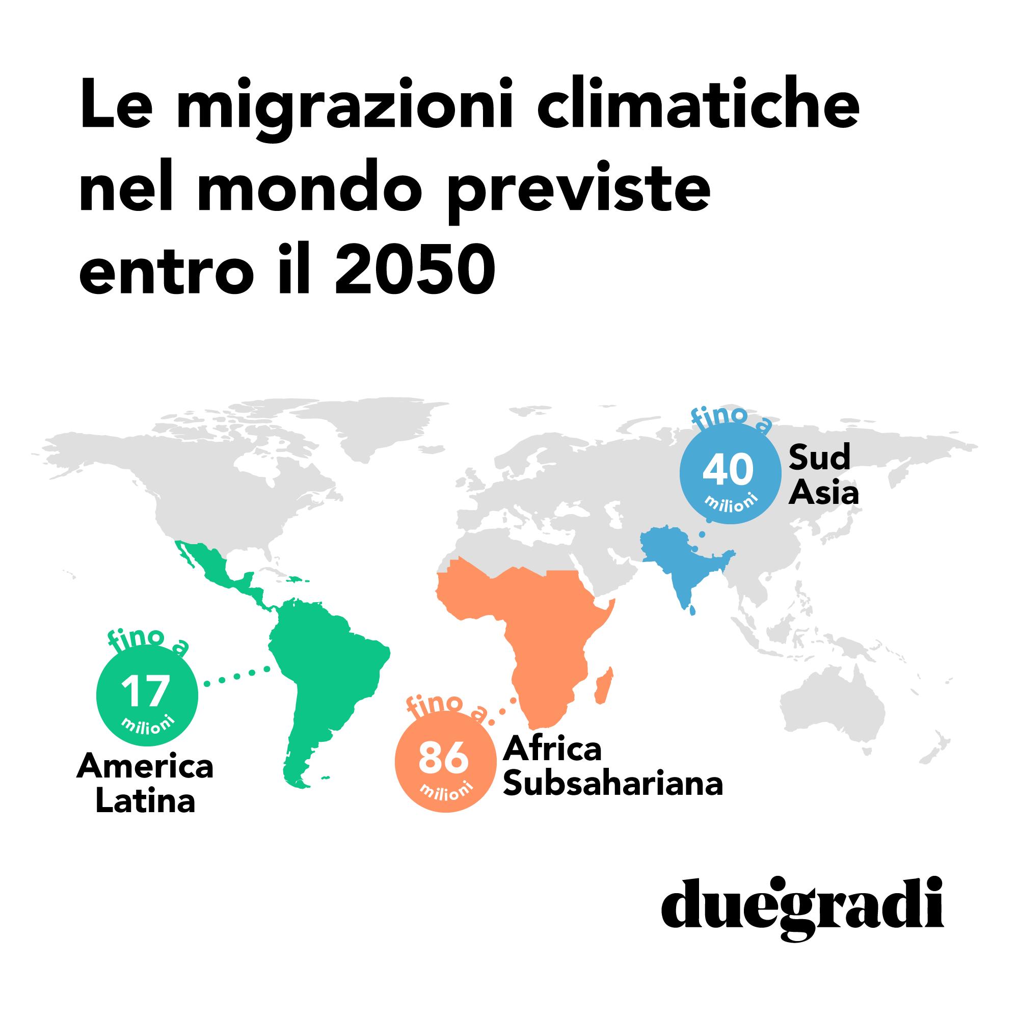 Migrazioni climatiche previste nel mondo entro il 2050